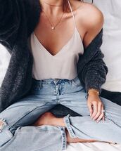 cardigan,coat,grey,oversized cardigan,wool,winter outfits,casual,soft,white blouse,light washed denim,pinterest,blouse,jeans,shirt