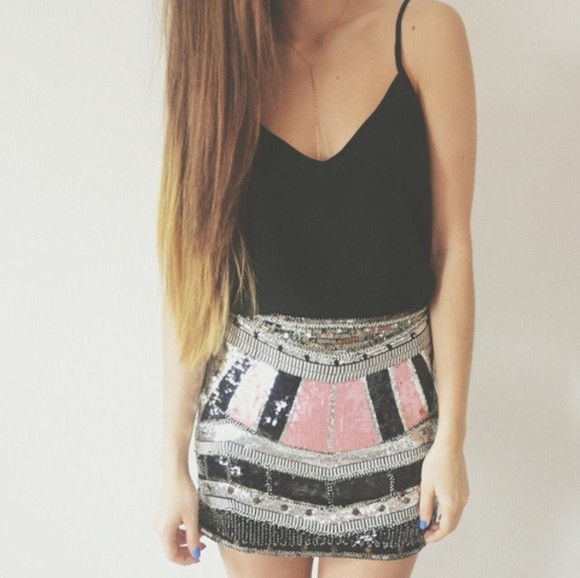 pink glitter short black silver skirt paillettes