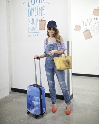 jeans overalls tumblr dungarees denim overalls pumps airport fashion suitcase cap pointed toe pumps high heel pumps bag bag accessoires yellow bag choker necklace black choker top blue top off the shoulder off the shoulder top