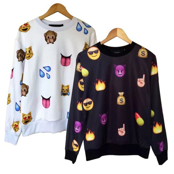 sweater jacket black emoji print