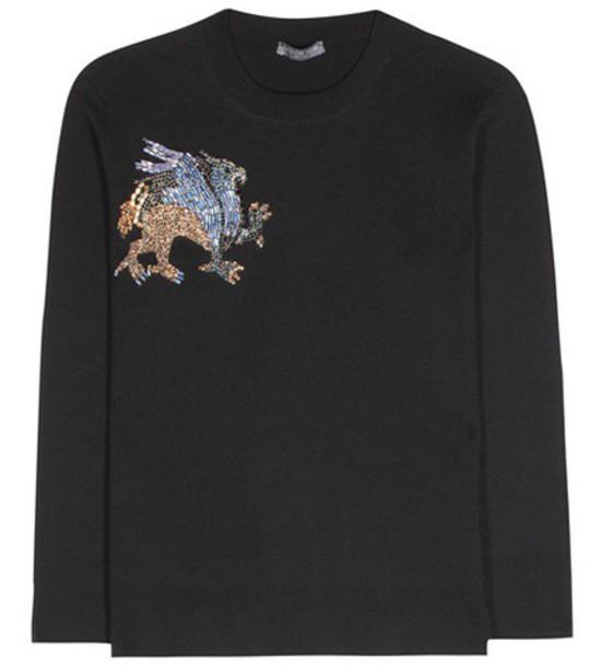 sweater wool sweater embellished wool black