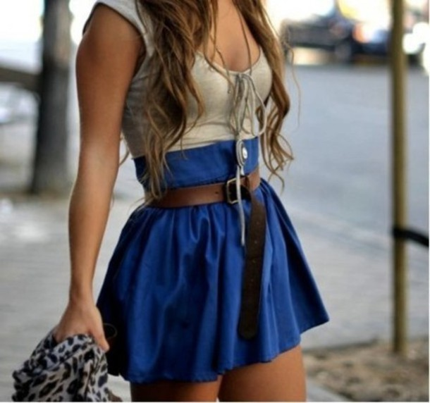 shirt tank top tan low cut dress skirt Belt lace up tank top grey blue summer outfits blue skirt cute scarf vest top clothes dress can't find cute dress tan top blue bottom short dress