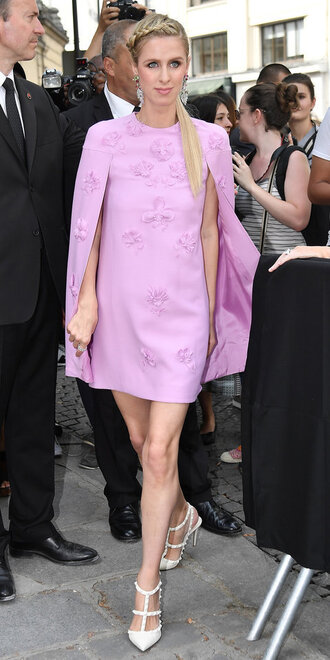 dress fashion week 2017 paris fashion week 2017 nicky hilton pumps pink pink dress shoes