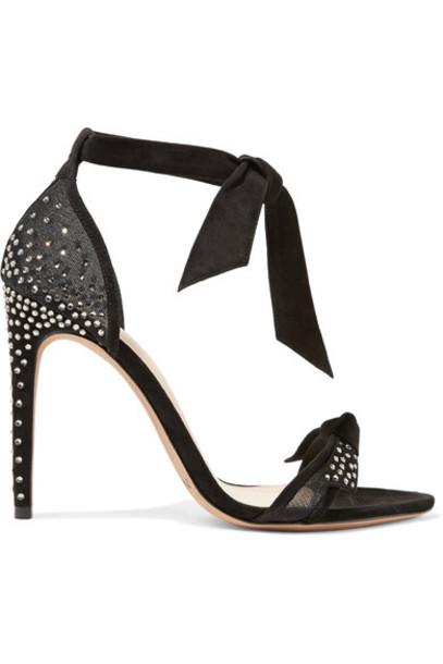Alexandre Birman mesh embellished sandals suede black shoes