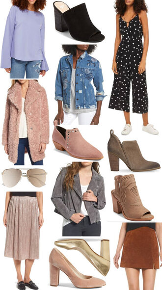 pearls&twirl blogger top jumpsuit jacket coat shoes sunglasses skirt