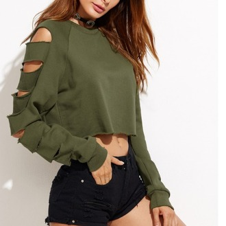 sweater crop crop tops cropped cropped sweater khaki olive green ripped trendy