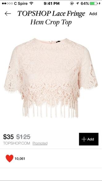 blouse beige peach pink crop tops fringes crop top shirt pink shirt