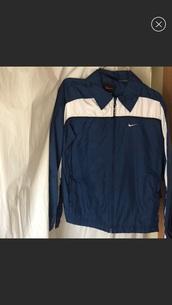 jacket,nike windbreaker,navy blue jacket,nike,women