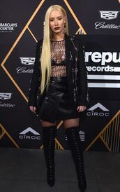 skirt,top,lace,lace top,iggy azalea,all black everything,mini skirt,grammys