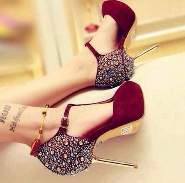 shoes heels maroo gold spikes diamonds burgundy high heels pumps high heel pumps prom shoes burgundy shoes