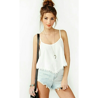 white tank top denim shorts jewels