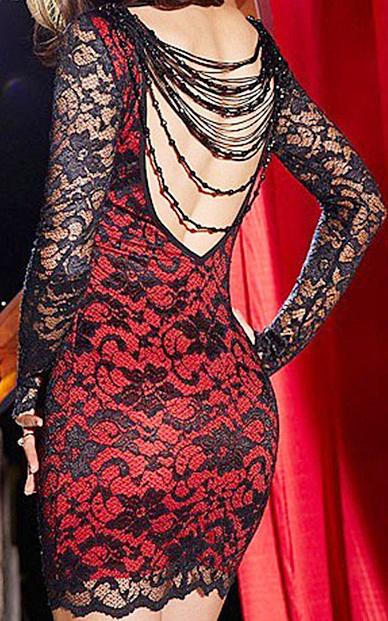 Black & red lace long sleeve backless slim dress