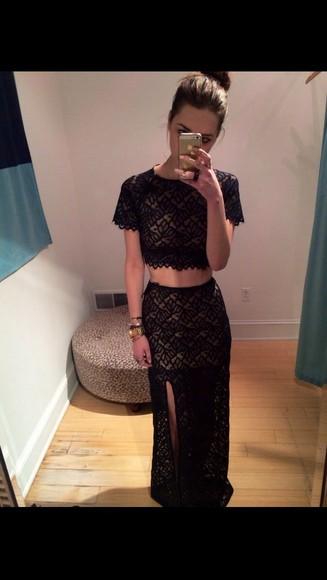 black two-piece lace dress tumblr dress tumblr skirt tumblr shirt skirt outfit crop tops dress