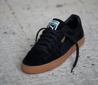 shoes black puma puma sneakers gumbottom gum sole trainers