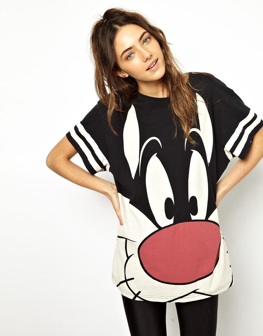 Lazy oaf white x looney tunes sylvester slob tshirt for How to get foundation out of a white shirt
