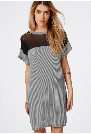 Shirt dress monochrome stripe