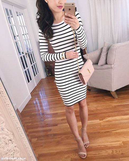 a944b4e38a3 extra petite blogger blouse t-shirt dress shoes stripes marine clothes navy  nude bag clutch