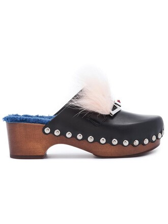 clogs wood women leather brown shoes
