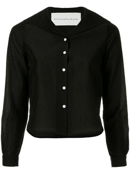 Writtenafterwards blouse back embroidered women black wool top