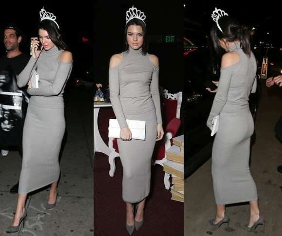 grey long sleeves top kendall jenner skirt
