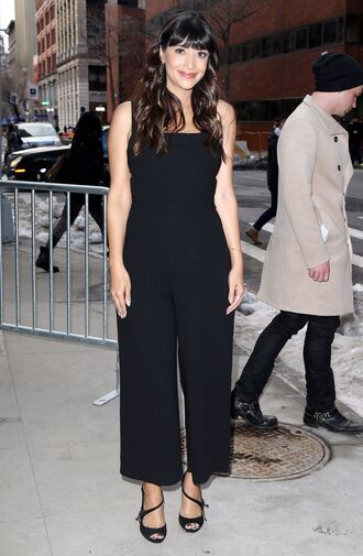 jumpsuit pants black hannah simone top celebrity celebrity style celebstyle for less black jumpsuit party outfits summer outfits spring outfits classy elegant date outfit clubwear wedding clothes wedding guest