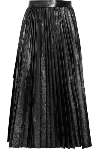 skirt wrap skirt pleated leather black