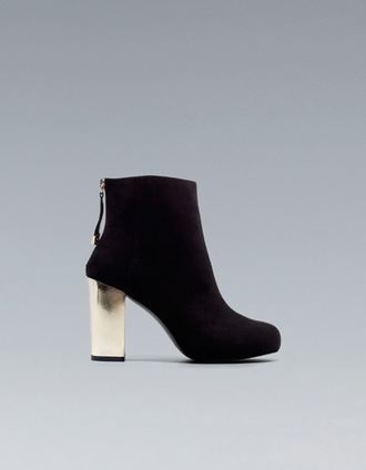 shoes black metal heels ankle boots suede