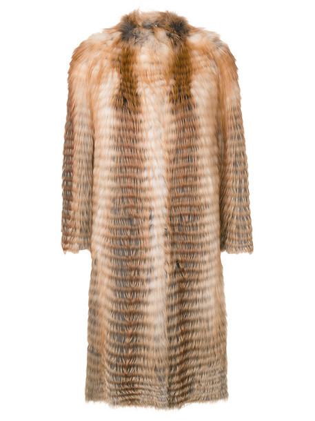 coat fur fox women midi wool brown