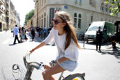 sunglasses,mirrored sunglasses,t-shirt,white,top,baggy,summer,sleeves,length,denim,shorts,bike,three-quarter sleeves