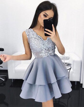dress,large size prom dresses,a lines prom dresses,blue prom dress,sleeveless prom dresses,v-neck scoop prom dresses,mini prom dresses,applique prom dresses,zipper-up prom dresses