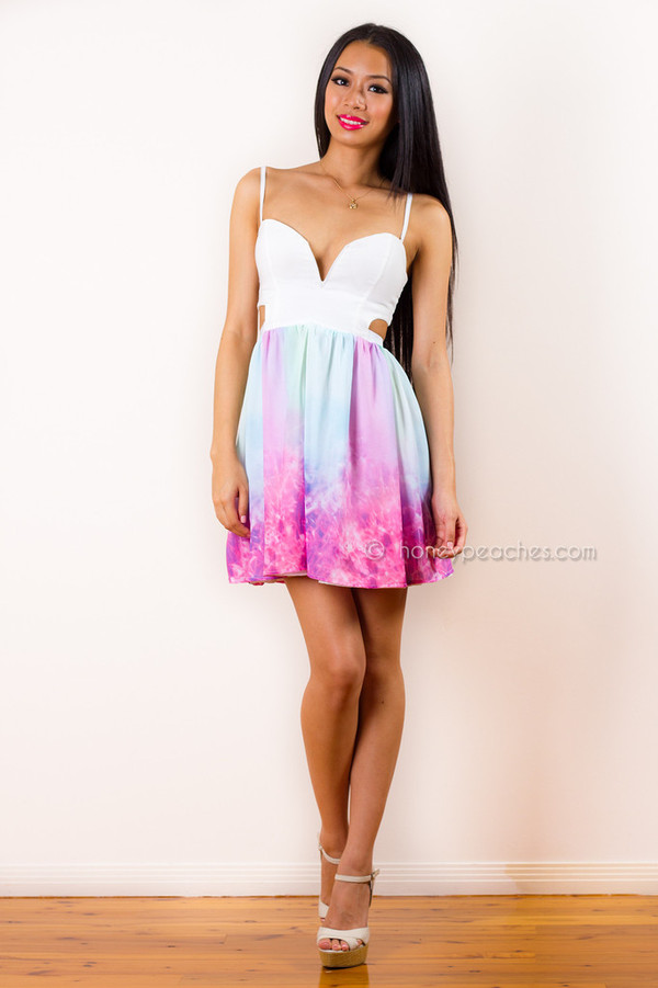 dress pastel dress colorfull dress blue dress pink dress white dress bare back