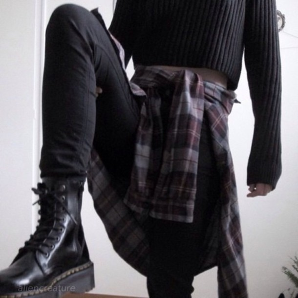 jacket black shoes black jeans flannel shirt grunge shoes grunge grunge wishlist sweater t-shirt shoes top grunge t-shirt dark soft grunge soft grunge top grunge top flannel plaid shirt grey shirt
