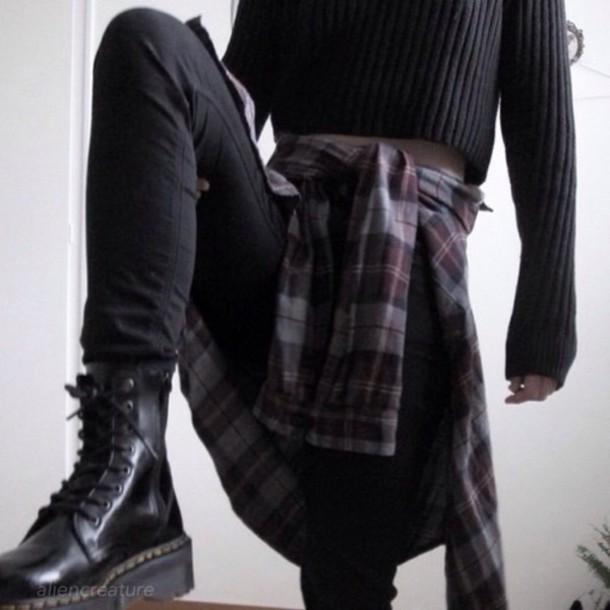 jacket black shoes black jeans flannel shirt grunge shoes grunge grunge wishlist sweater