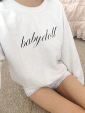 sweater,babydoll,hoodie,white