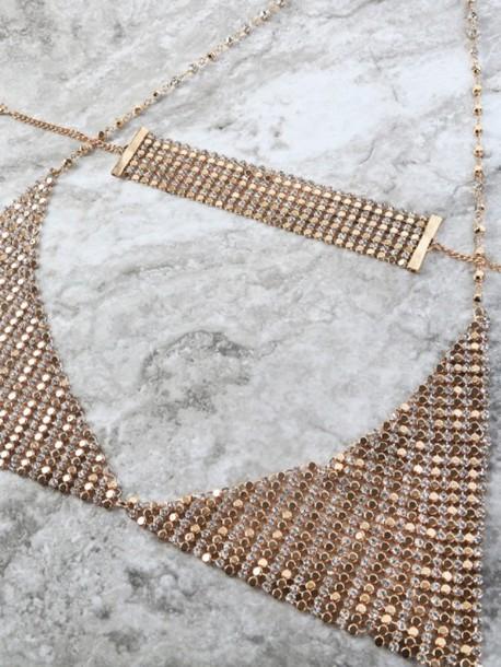 underwear bra diamonds diamond bra choker necklace gold choker
