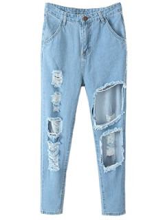 Denim jeans with cut out