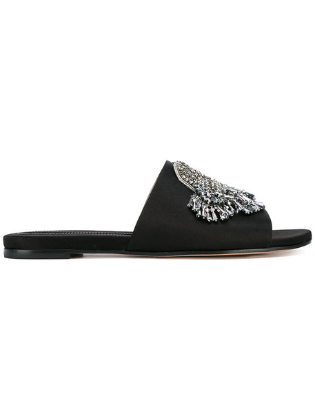 Rochas women embellished leather black silk shoes