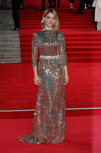 dress gold gold sequins gown prom dress léa seydoux red carpet dress