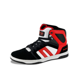 shoes sneakers red white black skinny/red high cut
