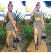 dress,set,two-piece,fashion toast,bodycon,crop tops,chanel,mini bag,olive green,green skirt,black choker,jewels,choker necklace,jewelry,necklace,instagram