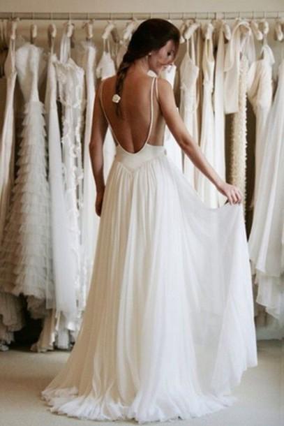 dress white long open back thin straps chiffon dress