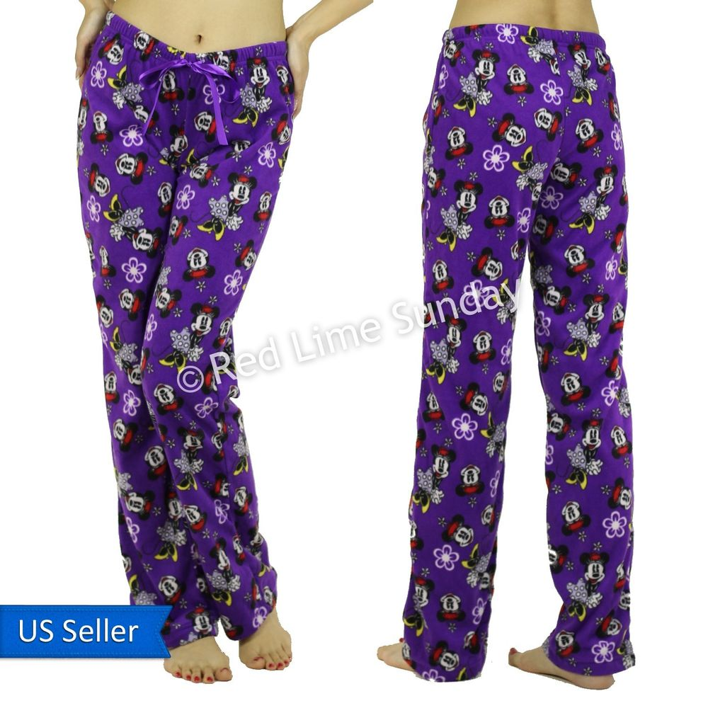 Women Comfy Disney Minnie Mouse Fleece Purple PJ Room Wear Casual Pants Bottoms