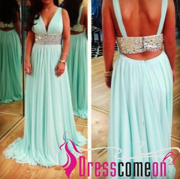 Custom 2015 empire v neck light blue backless evening dresses/long prom gown · dresscomeon · online store powered by storenvy