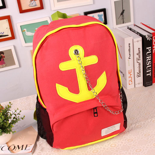 [grhmf22000176]Leisure Candy Color Anchor Print Chain Backpack