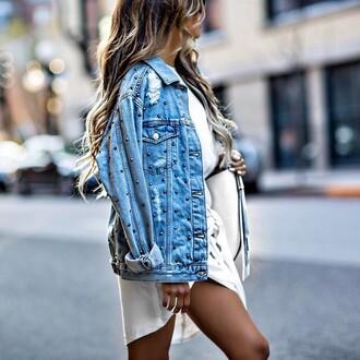 jacket denim jacket denim blue jacket embellished jacket embellished shirt dress white dress mini dress asymmetrical dress asymmetrical