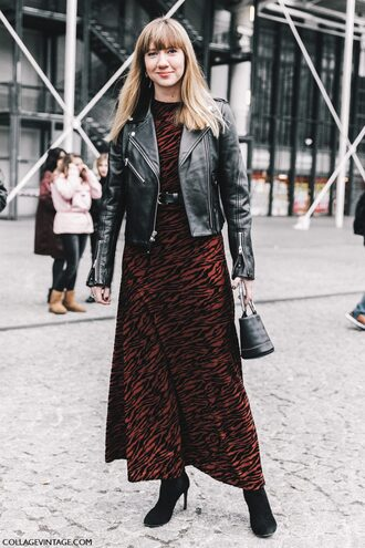 dress tumblr fashion week 2017 streetstyle maxi dress printed dress red dress belt belted dress jacket black jacket black leather jacket leather jacket boots black boots high heels boots bag black bag