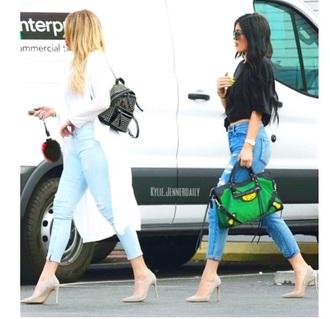 shoes kylie jenner khloe kardashian high heels nude pumps jeans