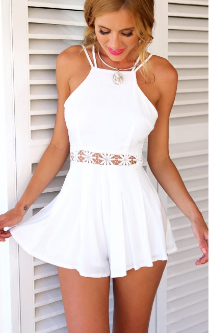 Aliexpress.com   Buy 2015 New White Floral Mosaic Ruffles Backless Halter  High Waist Women s Short Playsuit ... ea0125dcba