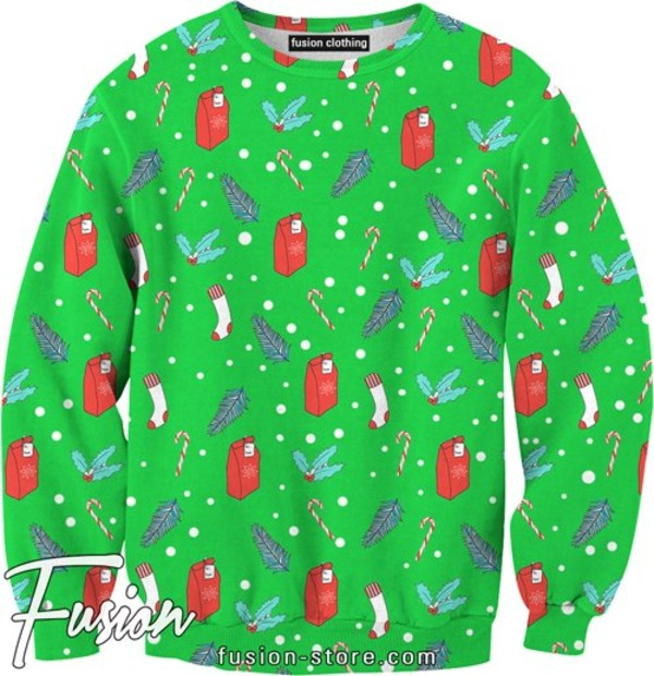 sweater mistletoe xmas green red crewneck all over print sexy sweater fusion sweaters christmas sweater