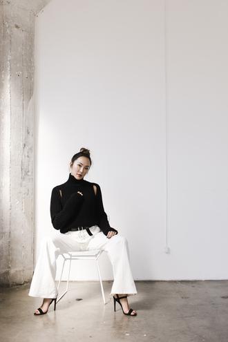 the chriselle factor blogger sweater pants shoes belt